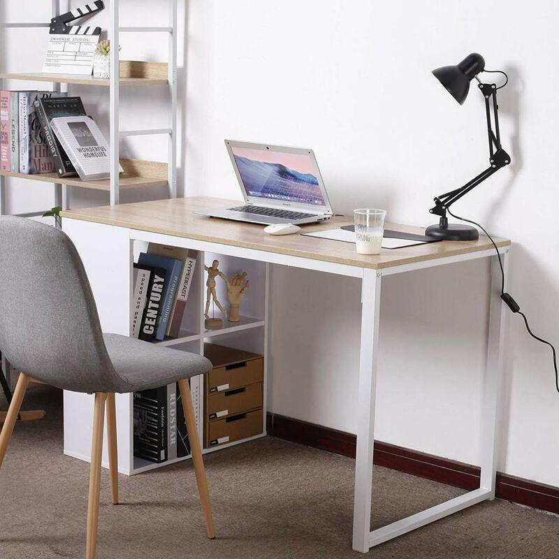 Mercatoxl - Schreibtisch Computertisch mit 4 Ablage Holz & Stahl Hell Eiche
