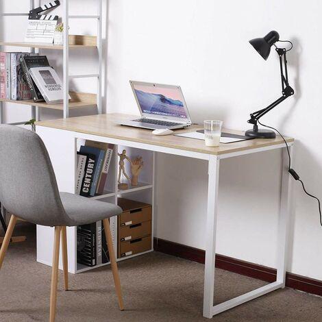 Schreibtisch Computertisch mit 4 Ablage Holz & Stahl Hell Eiche
