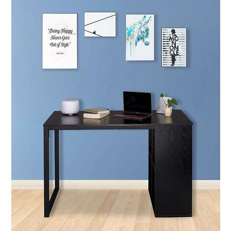 Schreibtisch Computertisch mit 4 Ablage Holz & Stahl schwarz