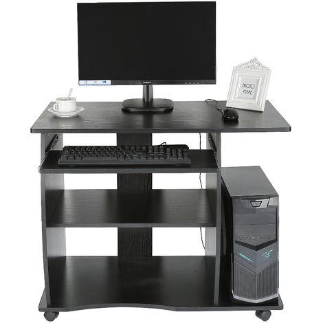 Schreibtisch Computertisch mit Rollen - Tastaturauszug MDF 90*50*75cm Schwarz