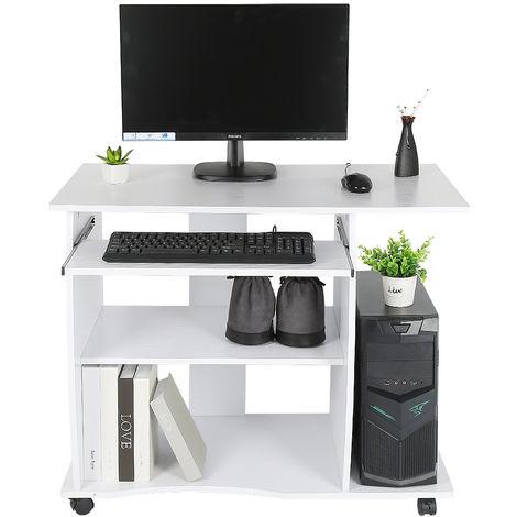 Schreibtisch Computertisch mit Rollen - Tastaturauszug MDF 90*50*75cm weiß