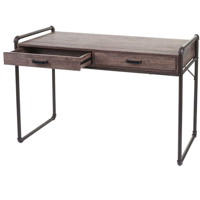 Schreibtisch 049, Bürotisch Computertisch, Industriedesign 75x120x60cm 3D-Struktur ~ braun - HHG