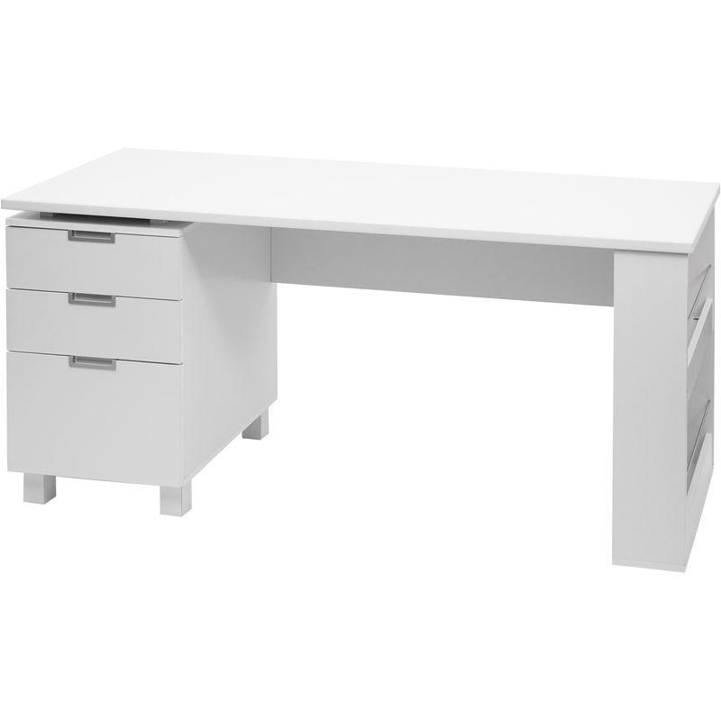 Schreibtisch HHG-208, Bürotisch Computertisch Arbeitstisch, 150x60cm ~ weiß