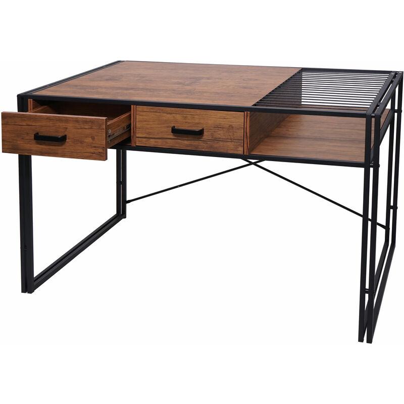 Schreibtisch 453, Bürotisch Computertisch, Industrial 76x120x70cm ~ braun - HHG
