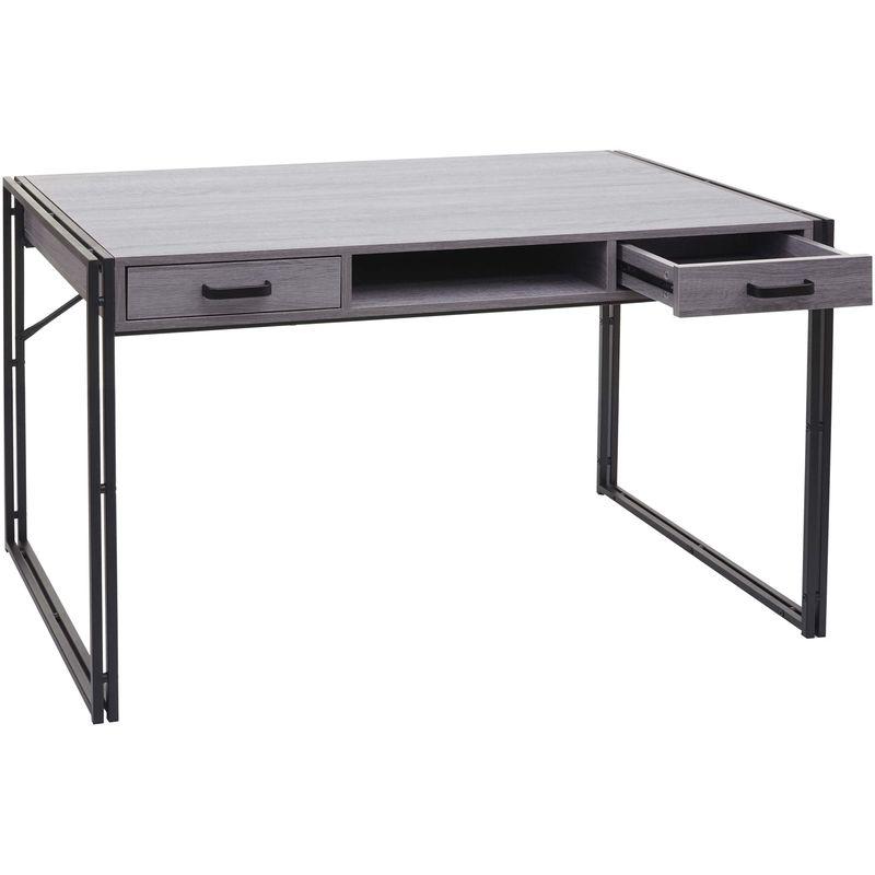 Schreibtisch 594, Bürotisch Computertisch, 122x70cm 3D-Struktur ~ grau - HHG