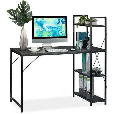 Schreibtisch, Kombination mit Regal, 4 Ablagefächer, für Jugendzimmer & Büro, HBT: 121 x 120 x 62 cm, schwarz