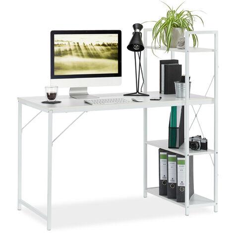 Schreibtisch, Kombination mit Regal, 4 Ablagefächer, für Jugendzimmer & Büro, HBT: 121 x 120 x 62 cm, weiß