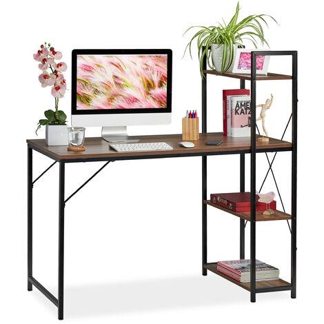Schreibtisch, Kombination mit Regal, 4 Ablagefächer, für Jugendzimmer & Büro, HBT: 121x120x62cm, braun/schwarz