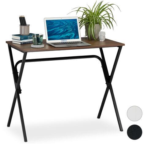 Schreibtisch, kompakt & platzsparend, Homeoffice, Jugendzimmer & Büro, HBT: 76 x 90 x 53 cm, braun/schwarz