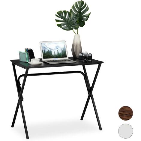 Schreibtisch, kompakt & platzsparend, Homeoffice, Jugendzimmer & Büro, HBT: 76 x 90 x 53 cm, schwarz
