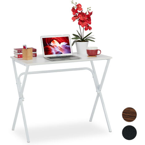 Schreibtisch, kompakt & platzsparend, Homeoffice, Jugendzimmer & Büro, HBT: 76 x 90 x 53 cm, weiß