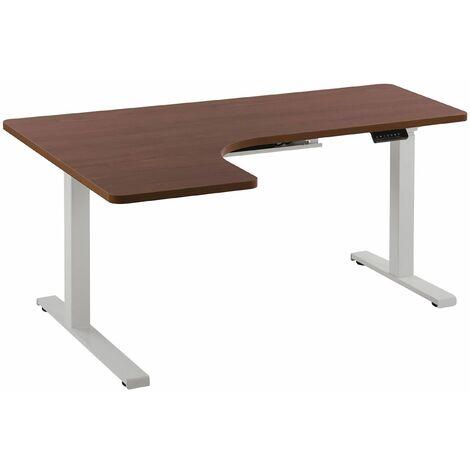 Schreibtisch linksseitig Braun Spanplatte 160x110 cm mit Metallgestell Weiß elektrisch höhenverstellbar L-Form Büro Arbeitszimmer Möbel