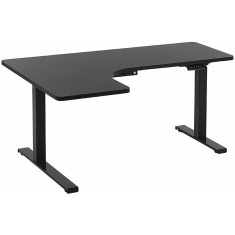 Schreibtisch linksseitig Schwarz Spanplatte 160x110 cm mit Metallgestell elektrisch höhenverstellbar L-Form Büro Arbeitszimmer Möbel
