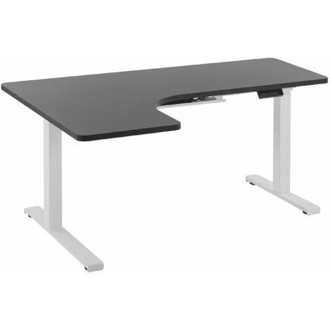 Schreibtisch linksseitig Schwarz Spanplatte 160x110 cm mit Metallgestell Weiß elektrisch höhenverstellbar L-Form Büro Arbeitszimmer Möbel