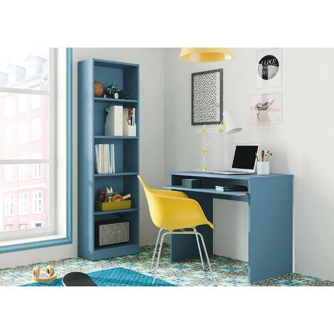 Schreibtisch mit ausziehbarem Regal, Farbe Blau, 90 x 79 x 54 cm.