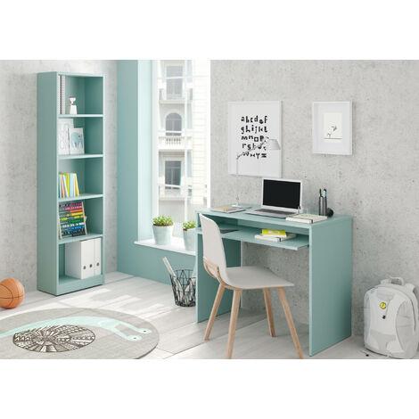 Schreibtisch mit ausziehbarem Regal, Farbe Wassergrün Farbe, 90 x 79 x 54 cm.