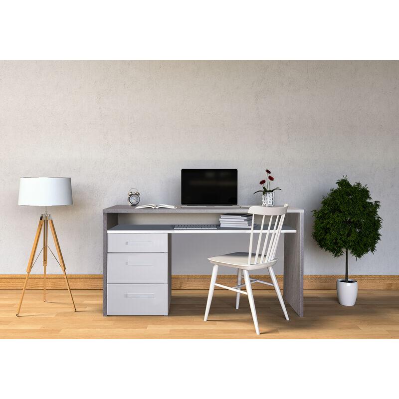 Schreibtisch mit Kommode mit drei Schubladen und einem Regal unter der Arbeitsplatte, Farbe Betongrau und Weiß, 110 x 77 x 60 cm.