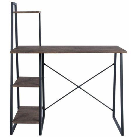 Schreibtisch mit Regal 4 Ebenen Dekor Nussbaum - CaliCosy - Dunkles Holz