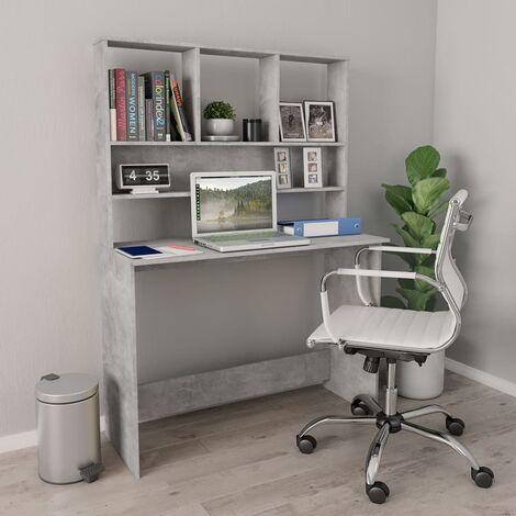 Schreibtisch mit Regalen Betongrau 110×45×157 cm Spanplatte
