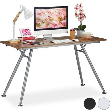 Schreibtisch, modernes Design, für Jugendzimmer & Büro, große Arbeitsfläche, HBT: 77 x 135 x 60 cm, braun