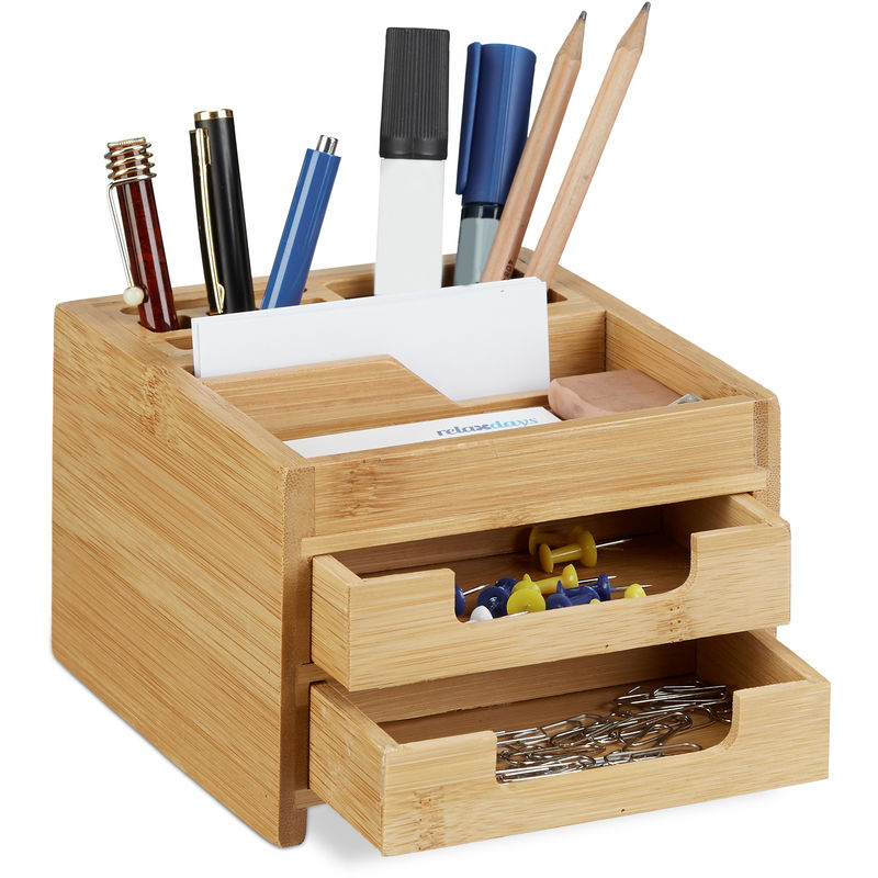 Schreibtisch-Organizer Bambus Tischorganizer Schreibtischbutler mit 5 Fächern