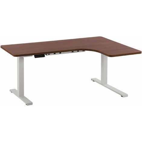 Schreibtisch rechtsseitig Braun Spanplatte 160x110 cm mit Metallgestell Weiß elektrisch höhenverstellbar L-Form Büro Arbeitszimmer Möbel
