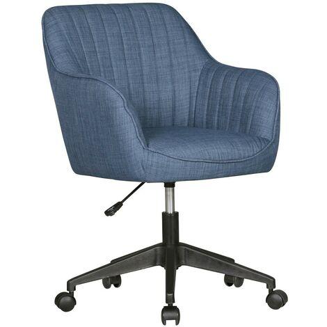Schreibtischstuhl MARA Blau Stoff Design Drehstuhl mit Lehne