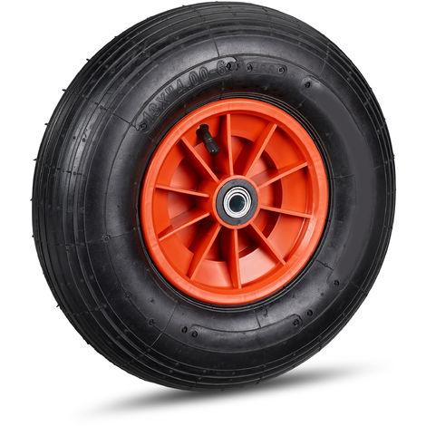 Schubkarrenrad, 4.00-6 Reifen, Kunststofffelge, luftbereift, 3 Adapter, Ersatzrad Schubkarre, schwarz-rot
