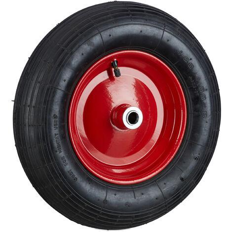 Schubkarrenrad 4.80 4.00-8 luftbereift, Komplettrad 120 kg Traglast, Luftreifen m. Ventil, schwarz-rot