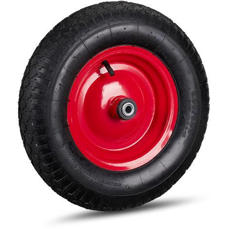 Schubkarrenrad 4.80 4.00-8, luftbereift, Stahlfelge, 3 Adapter, Ersatzrad Schubkarre, bis 120 kg, schwarz-rot