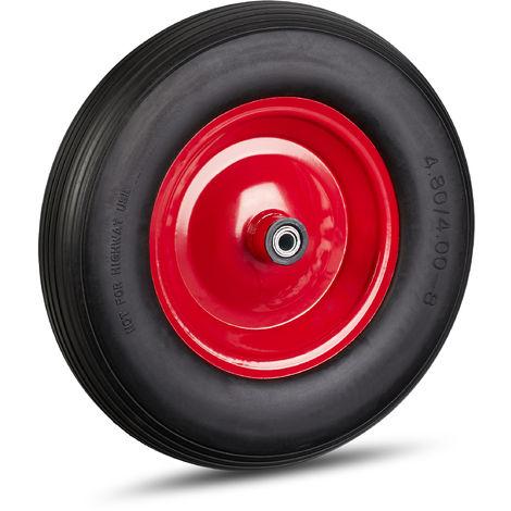 Schubkarrenrad 4.80 4.00-8, Vollgummirad & Stahlfelge, 3 Adapter, Ersatzrad pannensicher, 100 kg, schwarz-rot