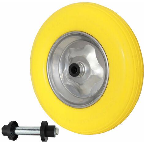 Vollgummi Reifen mit Achse Metallfelge Schubkarrenrad Ersatzrad 4.80//4.00-8