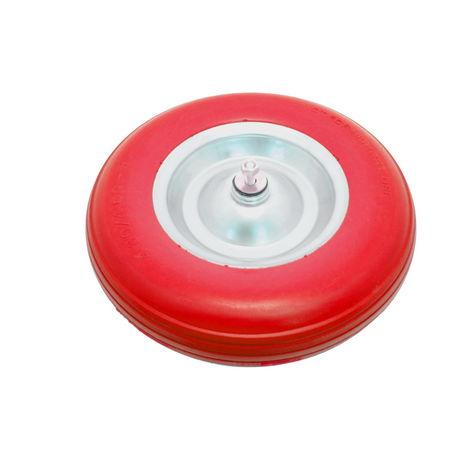 Schubkarrenrad pannensicher aus Polyurethan PU inkl. Achse rot