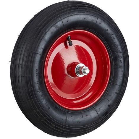 Schubkarrenreifen 4.80 4.00-8, Ersatzrad luftbereift inkl Achse, Luftreifen 120 kg Tragkraft, schwarz-rot