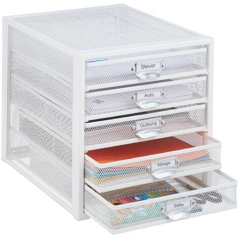 Schubladenbox, 5 Schubladen, beschriftbar, Akten sortieren, Stahl Büro Organizer HBT 29 x 27,5 x 35,5 cm, weiß