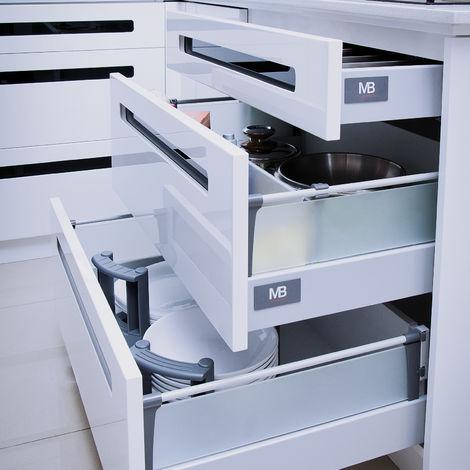 Schubladensystem Modern Box Zargenhöhe 84 mm Nennlänge 250-550 mm Soft-Close