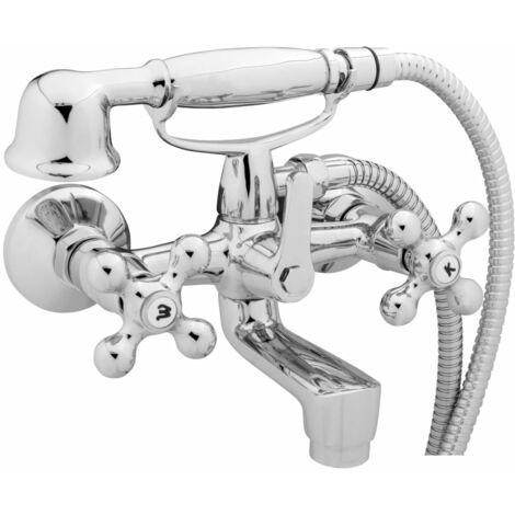 SCHÜTTE 2-Handle Bath Mixer with Hand Shower ELK Chrome - Silver