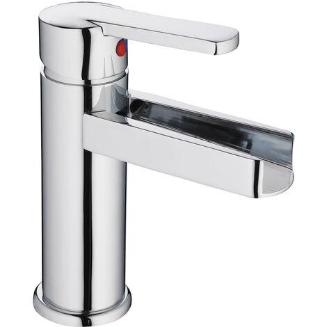 SCHÜTTE Basin Mixer Tap with Waterfall Spout NIAGARA - Silver