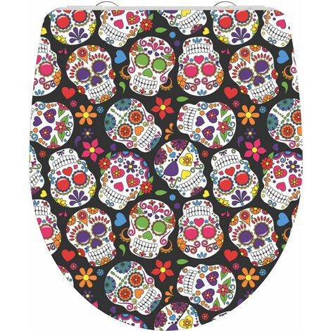 SCHÜTTE Duroplast High Gloss Toilet Seat with Soft-Close CRAZY SKULL - Multicolour