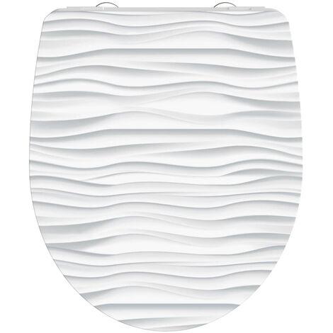 SCHÜTTE Duroplast High Gloss Toilet Seat with Soft-Close WHITE WAVE White - White