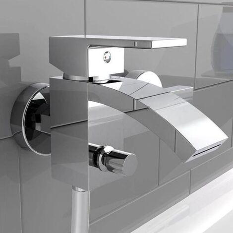 SCHÜTTE Grifo mezclador de bañera con caño en cascada CASCATA cromado - Plateado