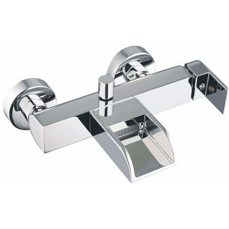 SCHÜTTE Grifo mezclador de bañera con caño en cascada IDROVIA cromado - Plateado