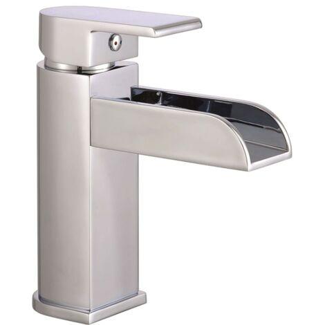 SCHÜTTE Grifo mezclador de lavabo con caño en cascada IDROVIA cromado - Plateado