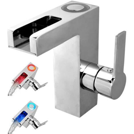 SCHÜTTE Grifo mezclador lavabo LED con caño en cascada ORINOCO cromo - Plateado