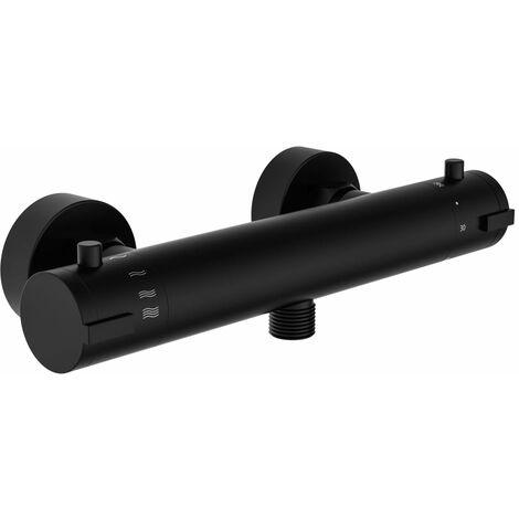 SCHÜTTE Grifo mezclador termostático de ducha LONDON negro mate 5,5 cm - Negro