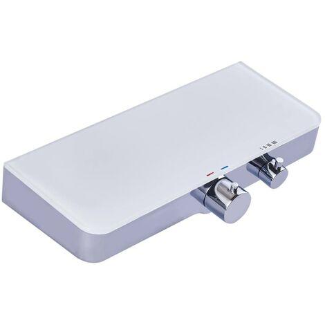 SCHÜTTE Grifo mezclador termostático ducha estante vidrio OCEAN blanco - Plateado
