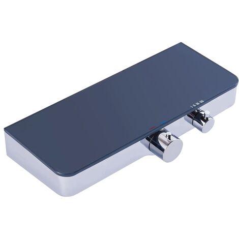 SCHÜTTE Grifo mezclador termostático ducha estante vidrio OCEAN gris - Plateado