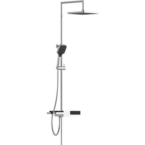 SCHÜTTE Juego de ducha fija BLUEPERL cromado - Negro