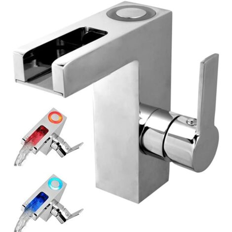 SCHÜTTE LED Basin Mixer Tap with Waterfall Spout ORINOCO Chrome - Silver