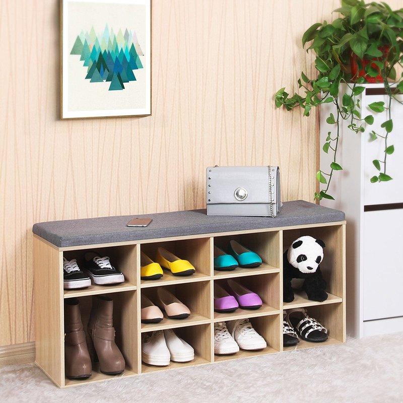 Schuhbank Schuhschrank mit Sitzkissen aus Holzspanplatte Flur Diele ...